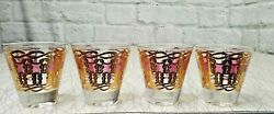 Fred Press Signed Mid-century/vintage Set Of 4 Lowball Glasses 22k Gold And Pink