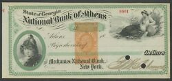 Rm-e4p Revenue Stamp Paper Proof Nat'l Bank Of Athens, Ga Check Xf-s Bv3673