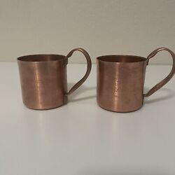 Makers Mark Kentucky Bourbon Whiskey Solid Copper Moscow Mule Mugs Cups Set Of 2