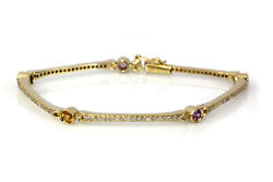 1.35 Ctw Natural Sapphire And Diamond Solid 14k Yellow Gold Station Bone Bracelet