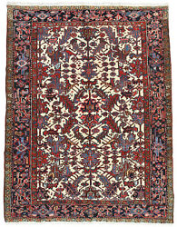 Vintage Tribal Heriz Rug 7and039x9and039 Ivory/blue Hand-knotted Wool Pile