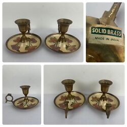 Vintage Antique Style Solid Brass Chamberstick Candle Holder /finger Loop 2 Pcs