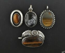 4 Sterling Silver And Genuine Stone Pendants W/ Tigers Eye And Agate