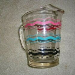 Vintage Wave Striped Pitcher Glass Wave Color Water Pitcher 8 Tall