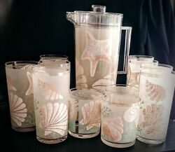 H. J. Stotter Vintage Seashell Beach 11 Acrylic Cups Tumblers And Pitcher Set