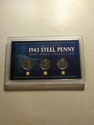 Complete 1943 Steel Penny Mint Mark P D S Collection- 3 Coin Set- Uncirculated