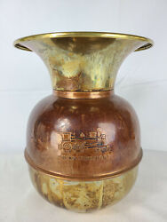 Union Pacific Railroad Spittoon Copper Brass Embossed Rr Logo 11 Tall