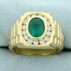 Mens 2.75ct Tw Emerald And Diamond Ring In 14k Yellow