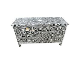 Chest Of 7 Drawers Mother Of Pearl Floral Design Black Color Home Decor Furnitur