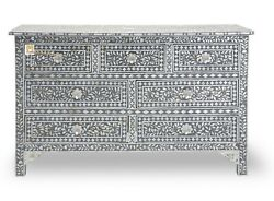 Chest Of 7 Drawers Floral Design Mother Of Pearl In Grey Color Home Decor Furnit