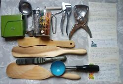 Large Kitchen Lot Junk Drawer Cean Out Wooden Spoons Hand Written Resipes