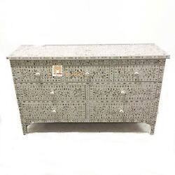 Chest Of 7 Drawers Floral Design Mother Of Pearl In White Color Home Decor Furni