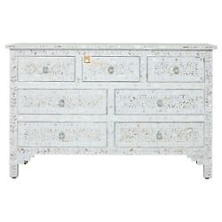 Chest Of 7 Drawers Floral Design Large Mother Of Pearl In Ivory Color Home Decor
