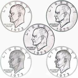 1973 P D S S S Eisenhower Dollar Year Set Silver And Clad Proof And Bu Us 5 Coin Lot