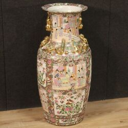 Large Chinese Vase Painted Ceramic Oriental Chinoiserie Antique Style China 900