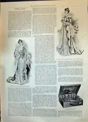 Old 1899 Ladies Fashion Tea-gown Case Dresses Polo Trophy Military Te Victorian