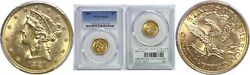 1881 5 Gold Coin Pcgs Ms-63