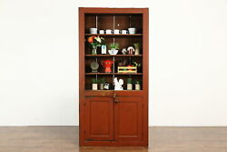 Farmhouse Country Pine Antique Cupboard, Cabinet, Bookcase, Red Paint 36357