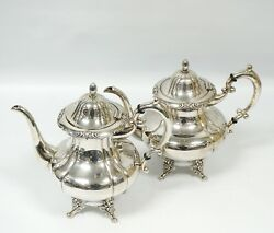 Lot Of 2 Sterling Silver Tea And Coffee Pots Rose Flowers Around Edges Unbranded