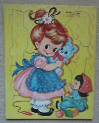 Vintage Sta-in-place Built-rite Puzzle Cute Girl With Toys 140-29 Rare