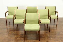 Set Of 6 Teak Midcentury Modern Dining Or Office Chairs New Upholstery 37411