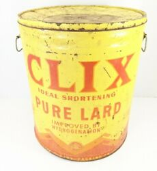 Clix Cudahy Packing Ideal Shortening Lard 50 Lb Vintage Litho Can Chicago
