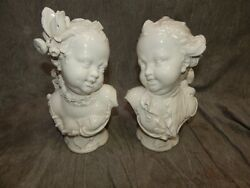 Rare Pair Of Fine Art Porcelain Busts Nymphenburg Bustelli Laughing Boy And Girl
