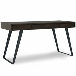 Simpli Home Lowry 54 Solid Wood Modern Computer Desk In Hickory Brown