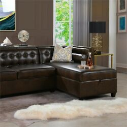 Jack 100 Tuxedo Sectional With Reversible Chaise And Storage Vintage Brown