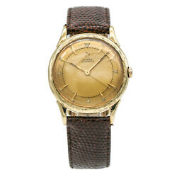 Omega 14k Yellow Gold Vintage Automatic Men's Watch With Textured Bezel Screw Ba