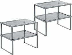 4 Pack Metal Kitchen Rack Counter Storage Shelf Organizer Expandable Stackable