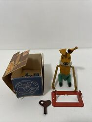 Antique German Schuco Velvet Wind-up Somersaulting Rabbit With Stand And Key Works