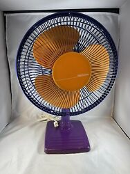 Vtg Holmes 12 Oscillating 3 Speed Fan Table-top Haof-1200 90's Purple Red Retro