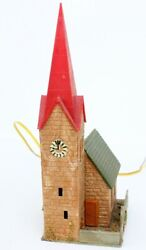 N Scale Pre-built Stone Wall Church W/ Clock Tower, Wired Light - Apprx. 2x3x6