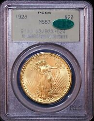 1928 Gold 20 Double Eagle Pcgs Ms63 Cac No Spots, Great Luster, Pq Gc801