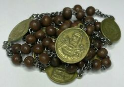 † Huge Scarce Antique Seven Sorrows Mother Of Mary Brass Chaplet Rosary 28 †