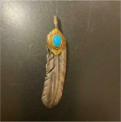 Goroand039s Turquoise Feather Necklace Charm Original Silver Gold Collectible F/s Jpn