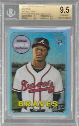 2018 Topps Heritage Ronald Acuna Jr Rc Chrome Refractor /569 Rookie Card Bgs 9.5