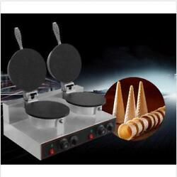 Commercial Ice Cream Cone Machine Electric Waffle Maker Dual Baker 110v 220v
