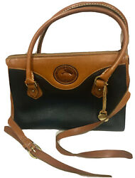 Vintage Dooney And Bourke Crossbody Bag All Weather Leather Navy British Tan $79.00