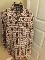Donnkenny 2x Multi Color Button Up Long Sleeve Blouse. New W/ Tags. Free Ship.