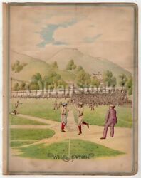 Early American Baseball Game Pitcherand039s Wild Pitch Rare Antique Chromolithograph