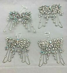 4 Large Iridescent Clear Jewel And Silver Angel Wings Ornaments Hangings 7 Tall