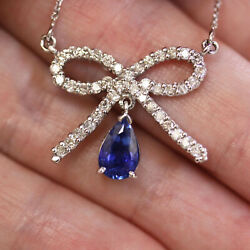 2.5 Ctw Natural Blue Sapphire And Diamond Solid 14k White Gold Bow Necklace 17