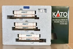 Kato 106-6168 N Weathered Bnsf Gunderson Maxi-iv Double Stack Container Car 4nv