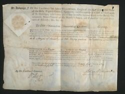 Rare 1795 Haiti British Military Commission Signed By Governor And Secretary