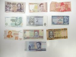 Junk Drawer Mix Of 10 Different Assorted Foreign Banknotes Paper Currency Lots