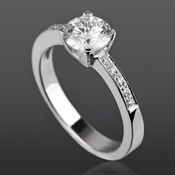 Round Cut Diamond Solitaire Accented Ring 1 Ct 4 Prong 14k White Gold Size 6 7 8