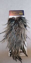 Whiting American Rooster Saddle Black Laced White Hackle Feathers New