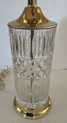 Vintage Leaded Cut Crystal And Brass Table Lamp